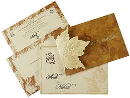 indian wedding card designs marriage card design online indian wedding card in fawn with leaf