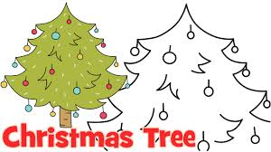 how to draw cartoon christmas tree step by step easy drawing for