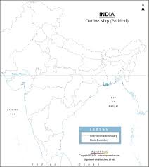 India Political Blank Printable Map by My World A4 Size Maps