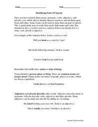parts of speech worksheet parts of speech pinterest