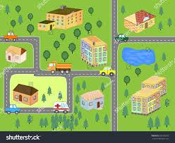 cartoon map seamless pattern roads cars stock vector 358150592