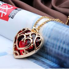 shaped pendant necklace images Big red crystal heart shaped pendant necklace gold plated at jpg