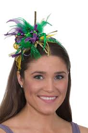 festival headbands mardi gras festival headband with feathers and ribbon