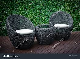 rattan garden table chairs water resistant stock photo royalty free