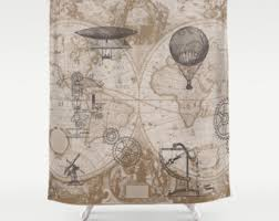 Vintage Style Shower Curtain Air Balloon Shower Curtain Antique Map Derigibles