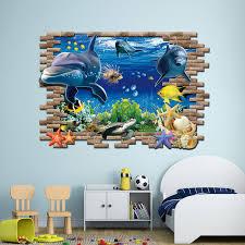 dolphin home decor sea aquarium dolphin 3d wall stickers creative wall poster diy