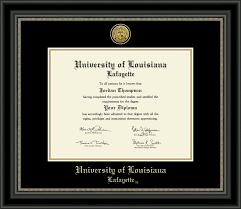 diploma frame of louisiana lafayette gold engraved medallion diploma