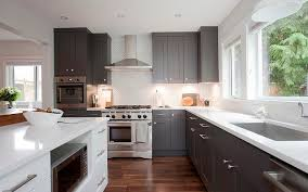 White Cabinets Dark Grey Countertops Dark Gray Cabinets Office Table
