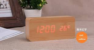 Battery Operated Desk Clock Wooden Digital Led Thermometer Sound Control Alarm Clock