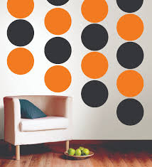 Circle Wall Decals Ideas For by Black U0026 Orange Polka Dot Wall Is A Perfect Fall Decor Idea From