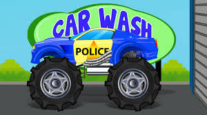 monster truck videos for toddlers police monster truck car wash videos for kids youtube
