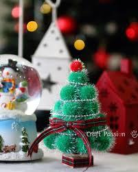 Mini Christmas Tree Crafts - pom pom christmas tree via craftpassion holidays pinterest