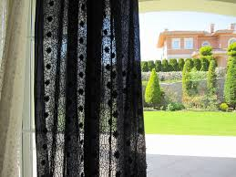 navy blue sheer curtain panels embroidered broderie anglaise