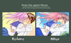 Meme Anime - draw this again meme anime kiss by paradisuu on deviantart