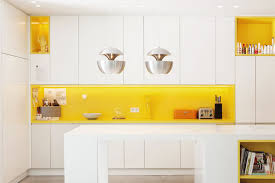Wall Toaster Tiles Backsplash Yellow Accent Kitchen Features White Cabinet