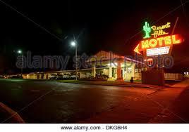 Classic Motel Route 66 Neon Desert Hills Motel In Tulsa Usa Neon Sign Outside