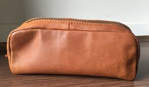 leather brush cosmetic or make up bag womens make up bag lined