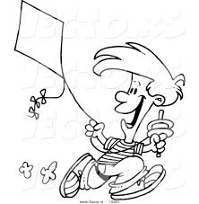 vector of a cartoon boy flying a kite 3 coloring page outline