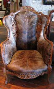 Western Style Furniture Hair On Hide Wing Back Chair Brindle Cow Hide Cowboy Sitting