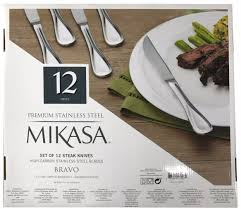 amazon com mikasa bravo premium stainless steel steak knife set