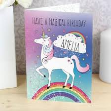 kids get well soon personalised unicorn card birthday childrens kids thank you
