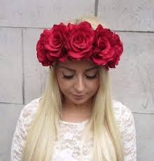 festival flower headbands large flower hair crown headband vintage big garland