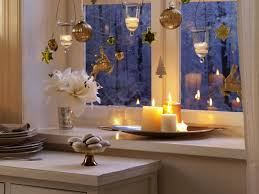 Christmas Window Decorations Ideas by Mesmerizing Hanging Christmas Ornaments Including Romantic Candle