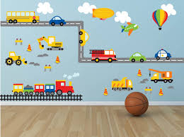 Cars Wall Mural by Truck Wall Decal Construction Wall Decal Plane Wall