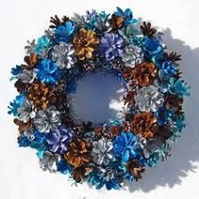 pine cone wreath handmade earthy shades of blue pine cone wreath by eacart