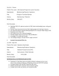 Cnc Machine Operator Resume Sample by Cnc Machinist Resume Contegri Com