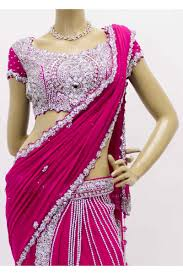 buy pink and silver designer butterfly saree saree