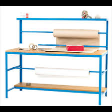 warehouse bench warehouse packing bench w reel holders and shelves