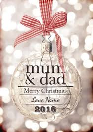 glitter baubles mum u0026 dad christmas card personalised