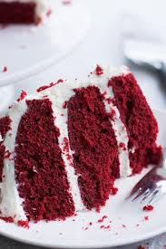moist red velvet cake and whipped cream cheese frosting savory