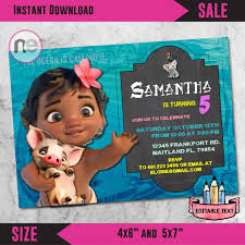 Printable Party Invitation Cards Sale Moana Party Moana Moana Invitation Moana Birthday Invite