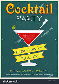 vintage invitation card design cocktail party stock vector