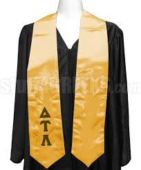 stoles graduation delta tau lambda satin graduation stole with letters gold