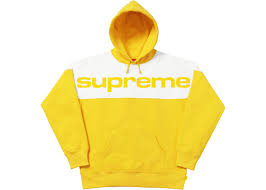 supreme blocked hoodie yellow