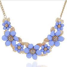 light blue statement necklace women s floral bohemian rhinestone statement necklace floral