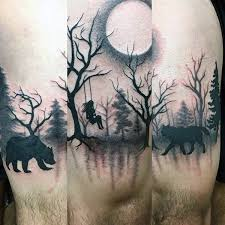 oldest silhouette tattoos of bear and wolf with trees golfian com