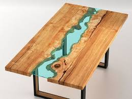 live edge wood round dining room table with glass river 4 playa