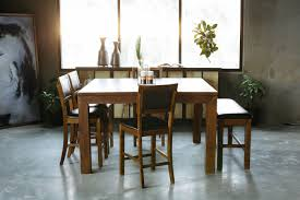 pub dining room sets six piece casual 60 u0027 u0027 pub dining set in medium brown mathis