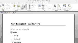 how to create a survey with radio buttons in microsoft word