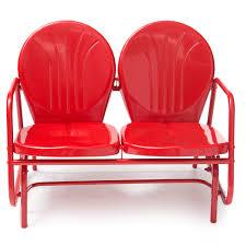 red modern classic retro outdoor steel frame loveseat glider bench