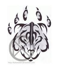 bear claw tribal tattoo stencil