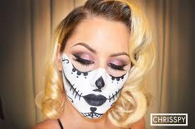 Half Skull Halloween Makeup by Makeup Portion Sugar Skull Halloween Tutorial Youtube