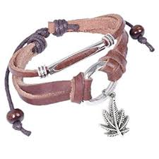 leather leaf bracelet images Leather bracelet with dangling marijuana leaf pot jpg