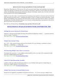 hematology mcqs questions with answers pdf hematology mcqs