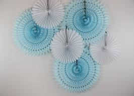 blue baby shower decorations baby shower decorations 6 tissue paper fan wheels white and
