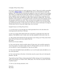 printable sample 30 day notice to vacate letter form real estate
